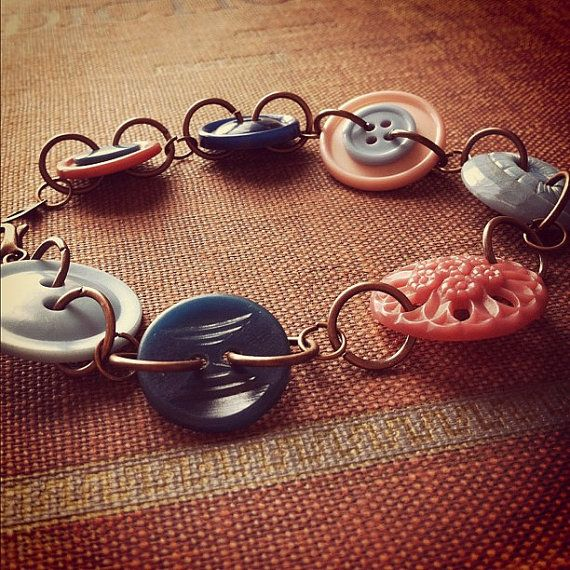 Rose and Peacock  Vintage Button Bracelet  by thelibraryfaerie