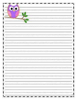 Owl Writing Paper  Lined Paper  Owl Theme  Paper Owls Writing