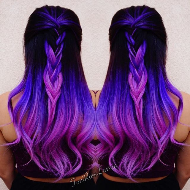 Purple Hair Purple Color Melt with Violet Hair hotonbeauty.com Braid Braided Style