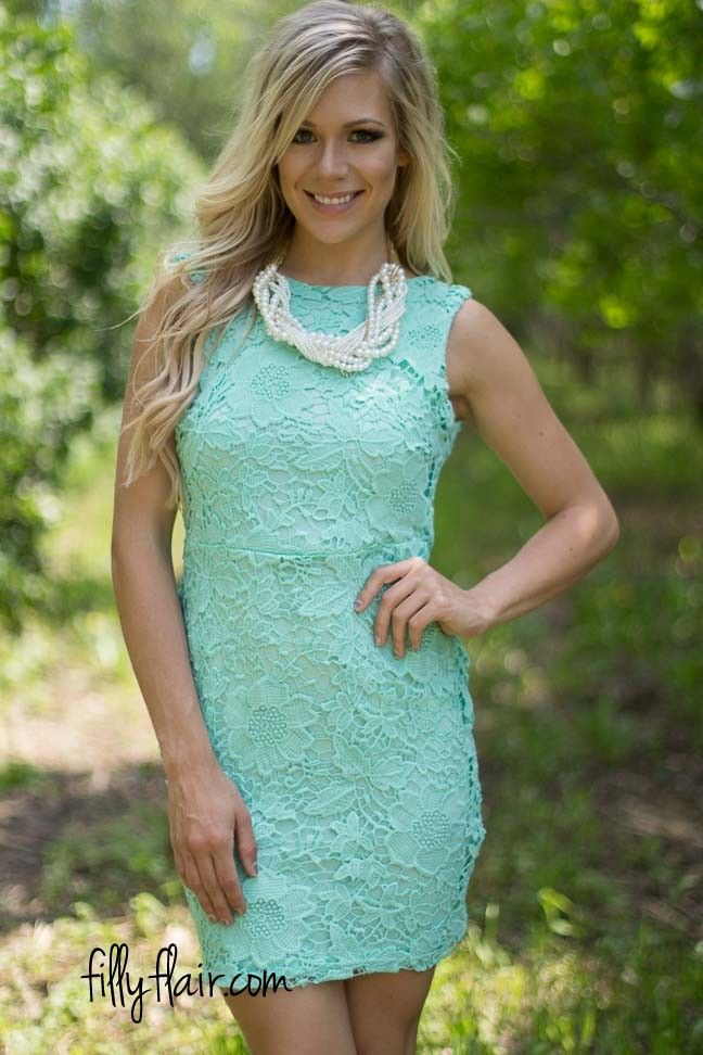 Bow Down Lace Dress in Mint   The perfect short dress or dress to ...