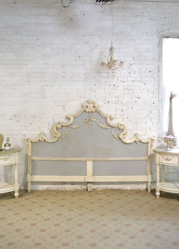 Painted Cottage Chic Shabby French King Headboard BD743 Paredes
