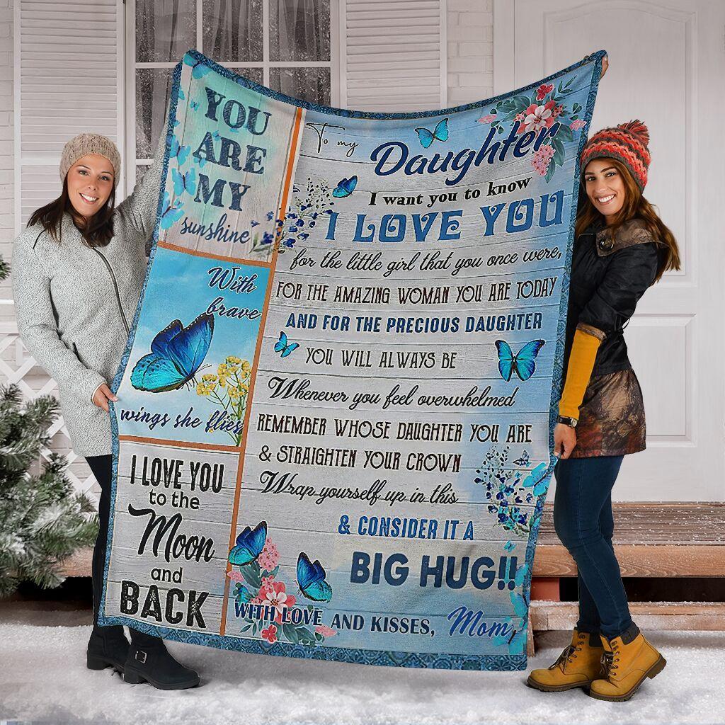 Blue Butterfly Blanket Gift for Daughter - Big Hug Fleece Blanket Quilting Birthday Gift For Daughter