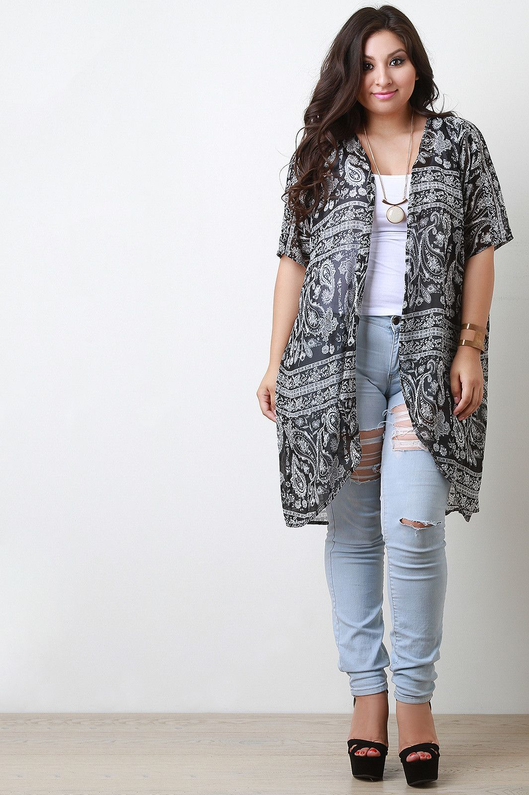 Buy Paisley Chiffon Open Front Cardigan at Marks Urban Wear® for ...