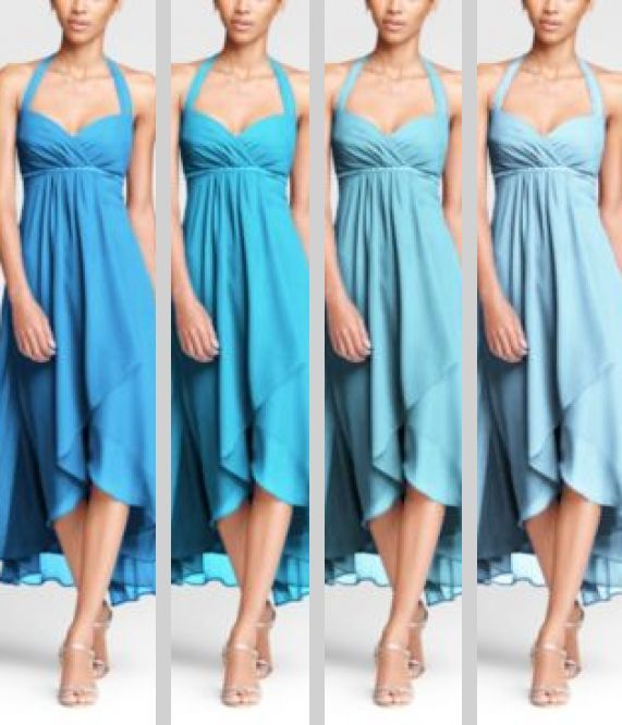 Bridesmaid dresses:  Same color, different shades!