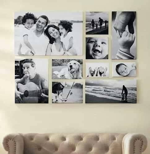 Pared decorada con fotos familiares a blanco y negro for Deco de la sala negro y rosa