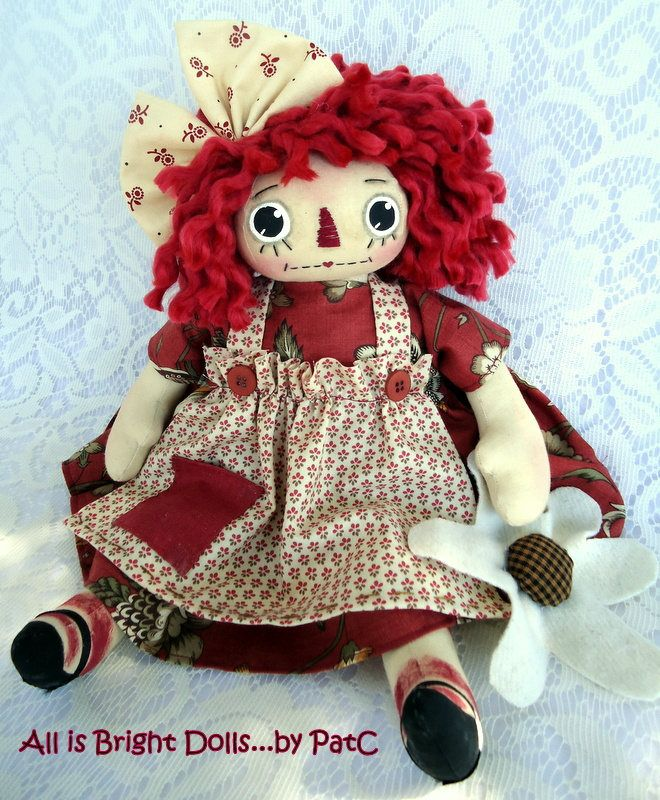 Raggedy Ann Doll, Primitive Raggedy Doll, Whimsical Doll, Country ...