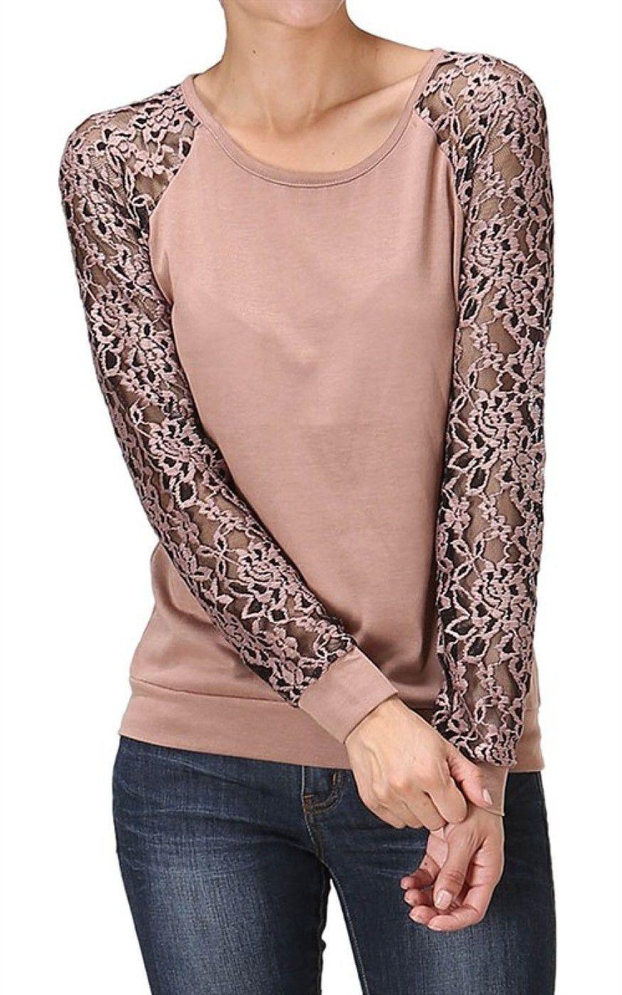 Elegante Ropa Raglan La De Moda Trajes Tejidas Sleeve Trendy Knit Linda Lace · Pullover Top Blusas wTFP7PxqCn