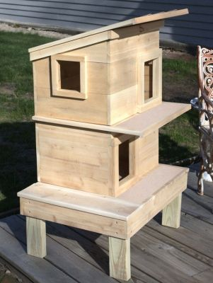 Raised Outdoor Cat House Double Deck