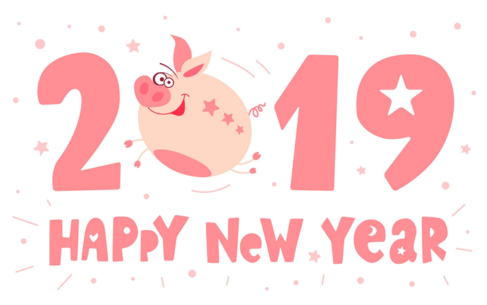 Download wallpapers 2019 year, pink piglet, chinese horoscope, happy new year, 2019 concepts, pink letters, funny piggy, 2019 backgrounds with piggy, 2019 year of the pig #happyhalloweenschriftzug