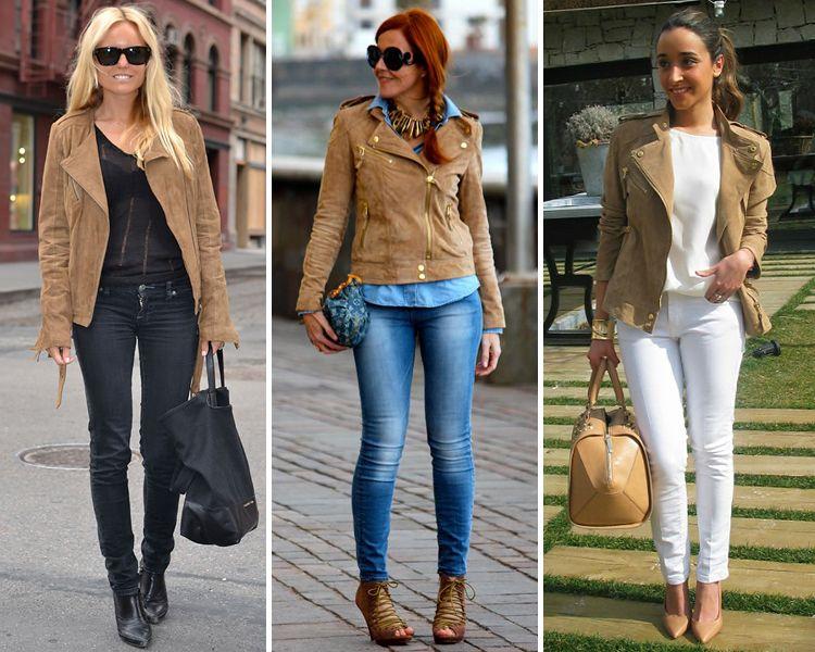 Combinar chaqueta cuero camel mujer