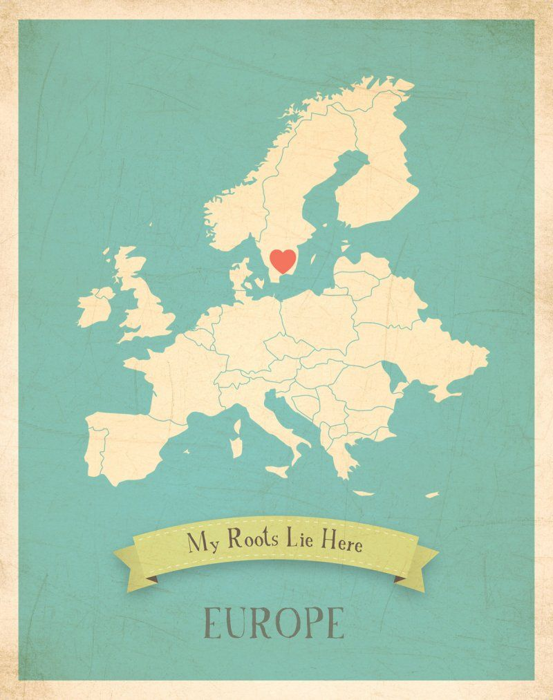 My Roots Map Europe in Blue Children Inspire Design