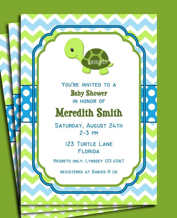 turtle invitation printable or printed with free shipping, Baby shower invitations