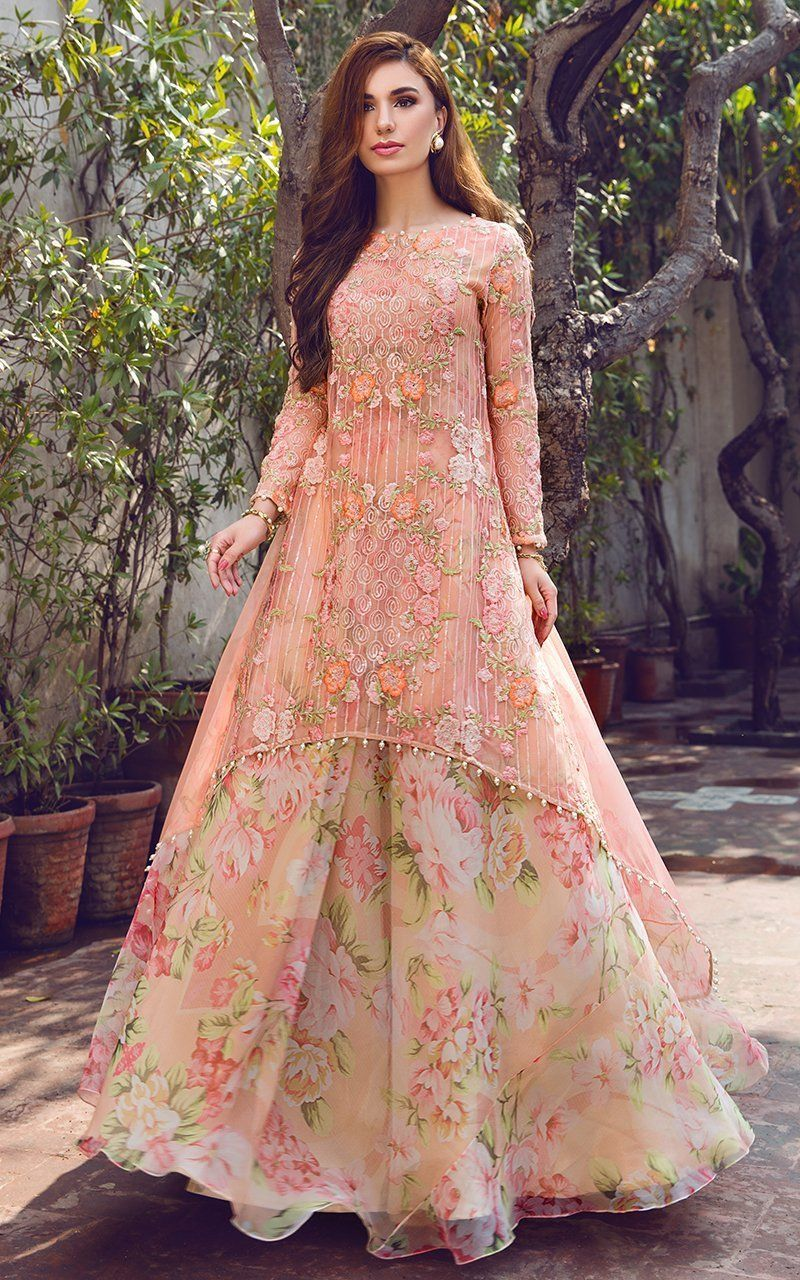 Peach Floral Kurta Lehenga Frugal2fab Indian Gowns Dresses Indian Fashion Dresses Indian Gowns