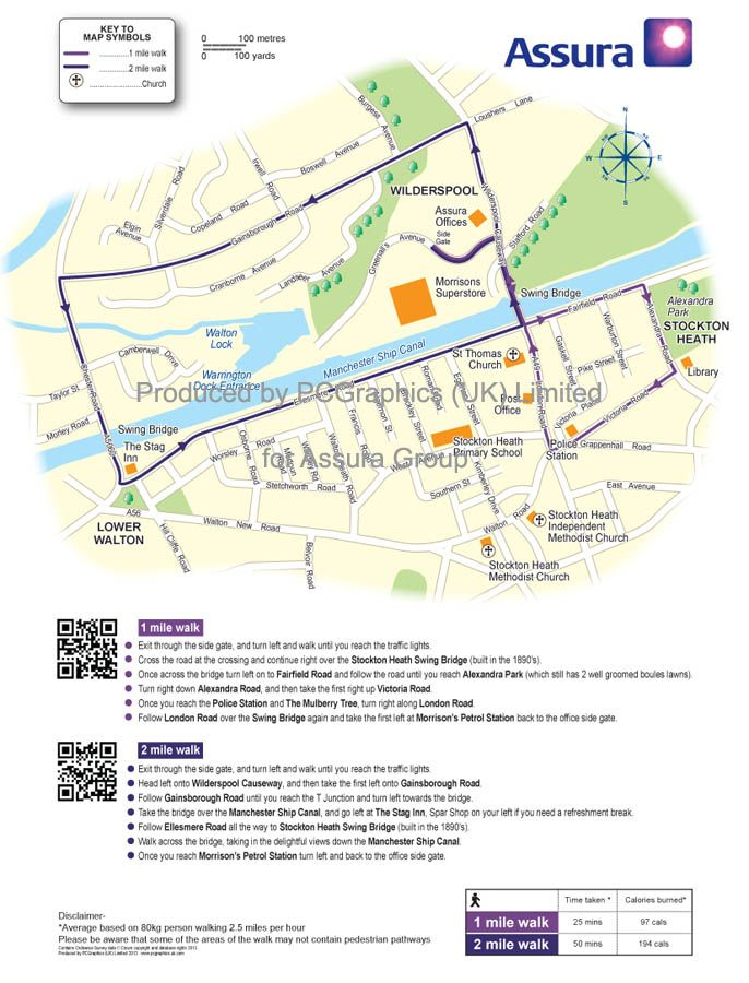Walk map of Warrington produced by PCGraphics for Assura Group. See ...