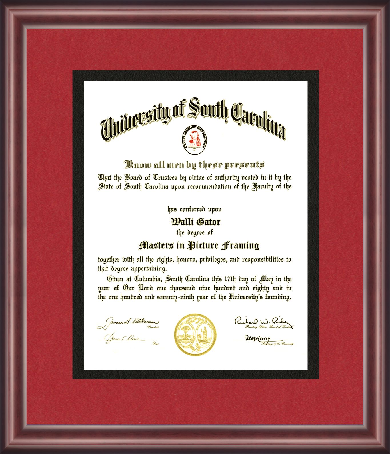 University Of South Carolina Diploma Frame Diploma Frame