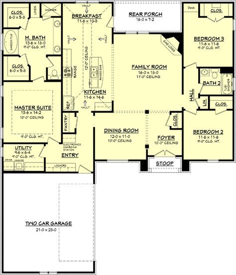 House Plan 041 00081 Country Plan 1 952 Square Feet 3 Bedrooms 2 Bathrooms Acadian House Plans New House Plans House Plans
