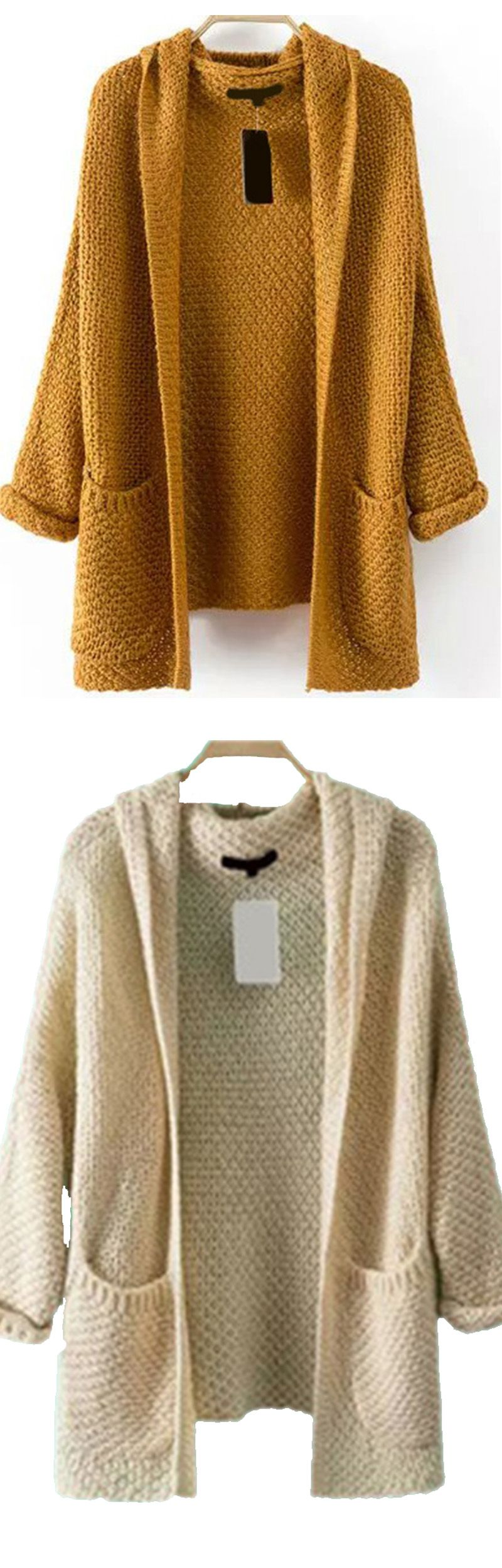 Loose chunky knit khaki pocket sweater cardigan at romwe.com ...