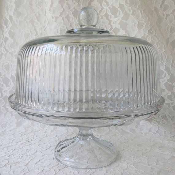 Vintage Clear Fluted Pressed Glass Pedestal Cake Stand With Glass Dome Lid Cake Saver Party S Glass Pedestal Cake Stand Pedestal Cake Stand Vintage Cake Stands