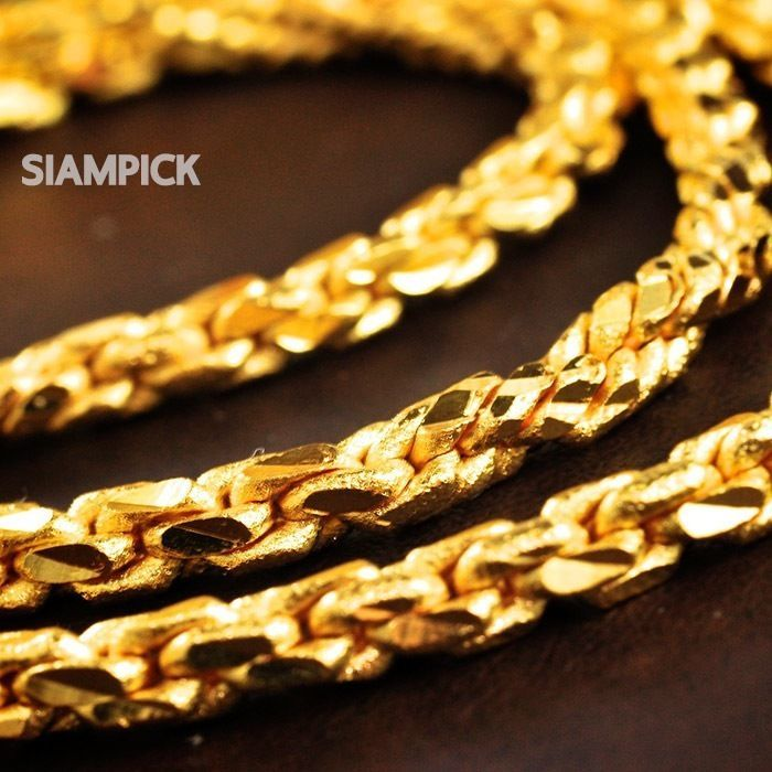 24 Inches Thai 24k Yellow Gold Baht Plated Heavy Twisted Chain