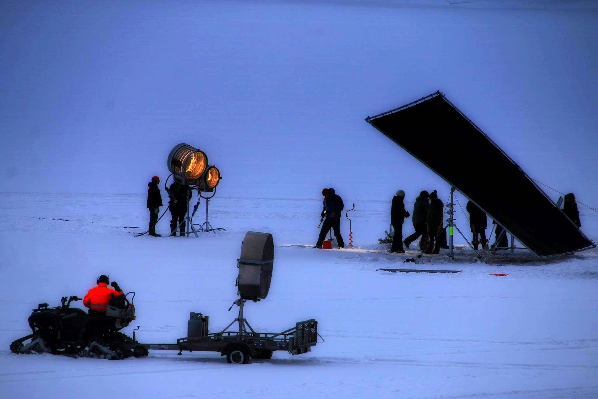 """March 10: Film crew on ice at Tinnsjø where they will film a car going through the ice at dusk, the """"blue hour"""" that Alfredson is a fan of. The crew mounted a mobile camera to the front of a Mercedes-Benz SUV. Eventually, the red Volvos will be driving on the slippery ice. Photo by Hans-Dieter Fleger http://radiorjukan.no/nyheter/696/hollywood-pa-tinnsjoisen-glatta/"""