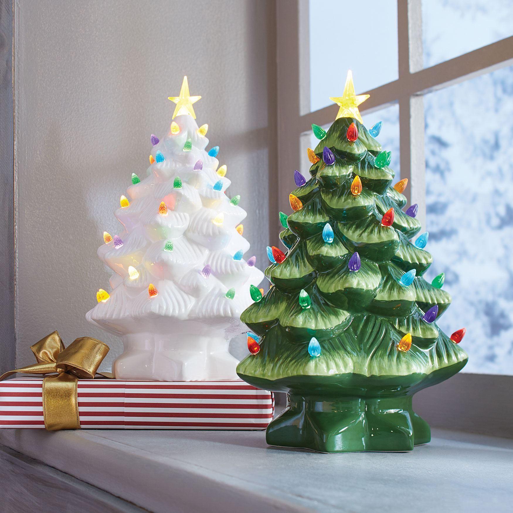 Pre Lit Nostalgic Porcelain Christmas Tree Vintage Ceramic Christmas Tree Ceramic Christmas Trees Christmas Decor Trends
