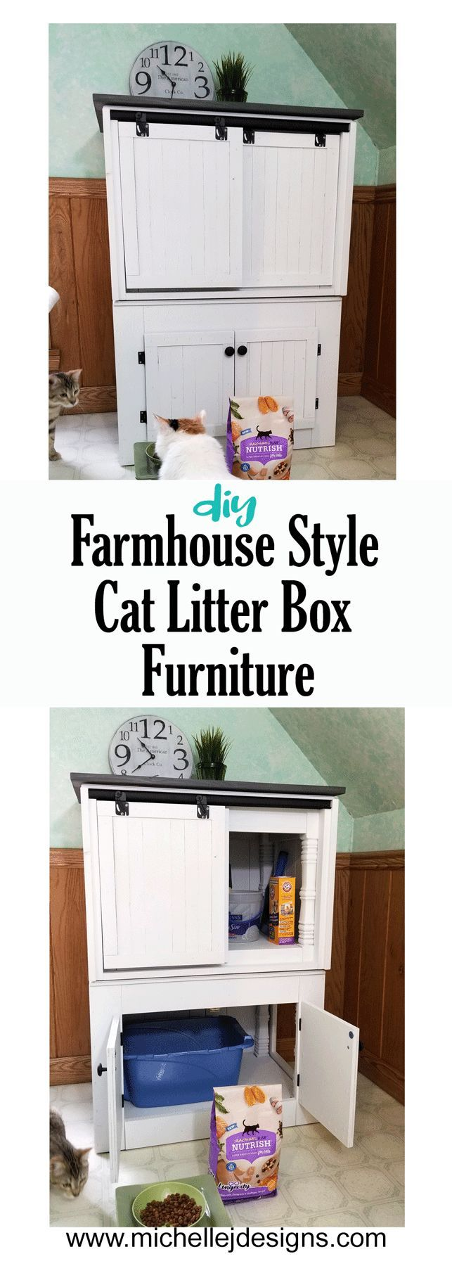 DIY Farmhouse Style Cat Litter Box Furniture (With images
