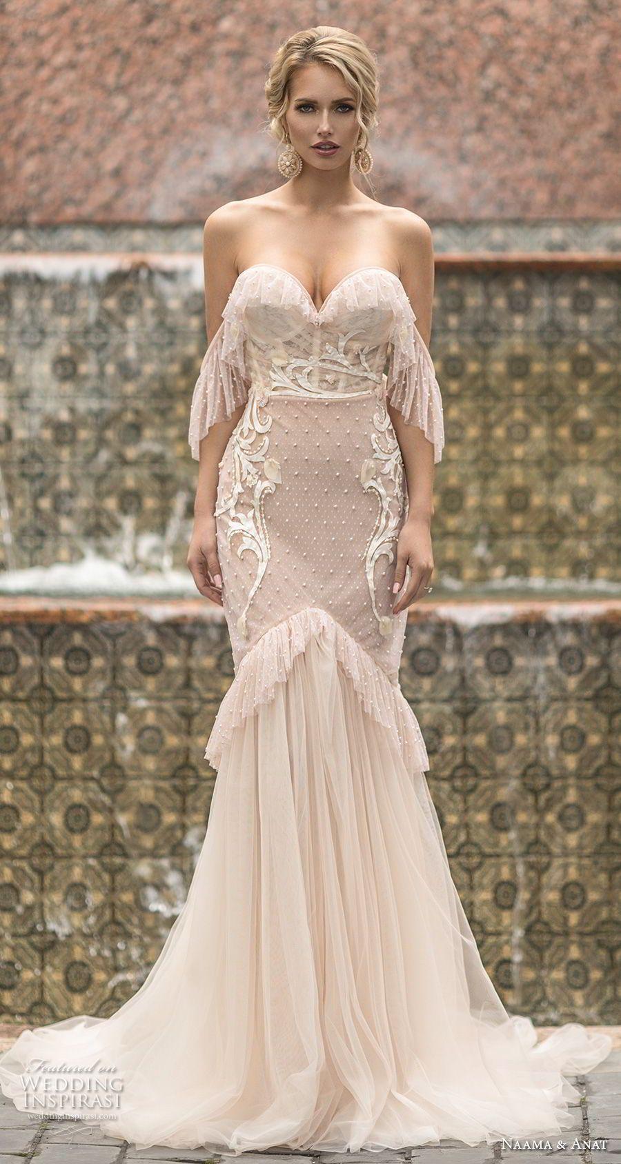 Naama Anat Frühling 2019 Braut ärmellos Mit Gurt Tiefem V Hals Voll  Verschönerung Sexy Glamourösen Mantel