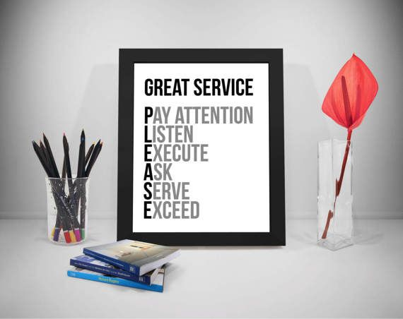 Great Service Printable Quotes Execute Sayings Served Print Etsy