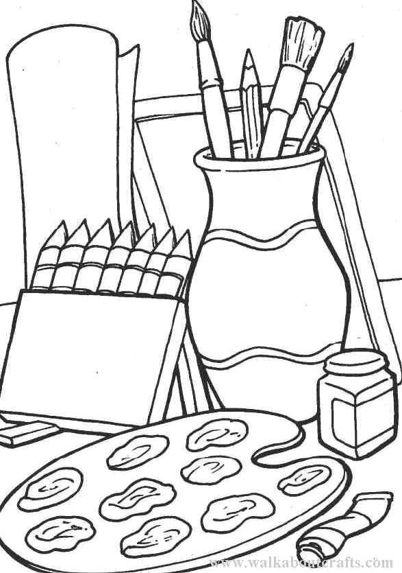 41768 Art Supplies Coloring Pages Jpg 587 835 Drawing Clipart