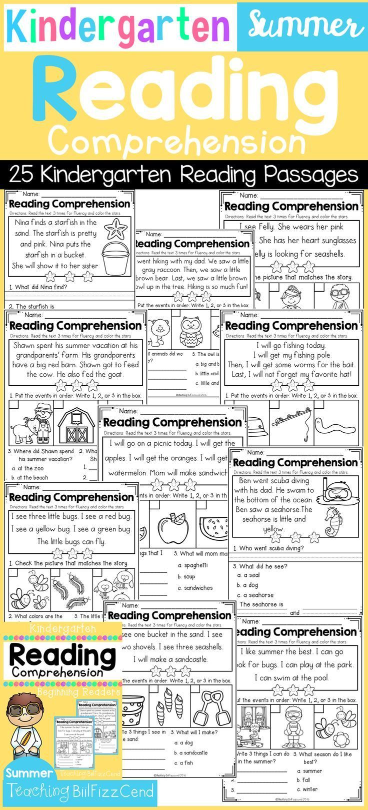 Kindergarten Reading Comprehension Summer Edition Reading Comprehension Reading Comprehension Kindergarten Kindergarten Reading [ 1619 x 736 Pixel ]