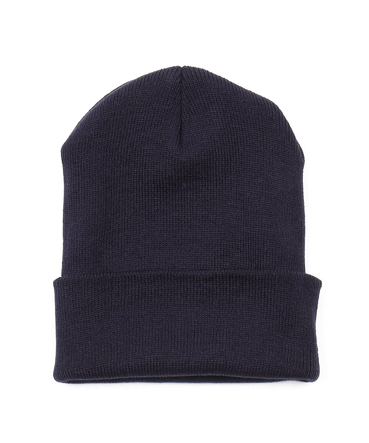 e6f14292242 Thick Plain knit Beanie Slouchy Cuff Toboggan Daily Hat Soft Unisex ...