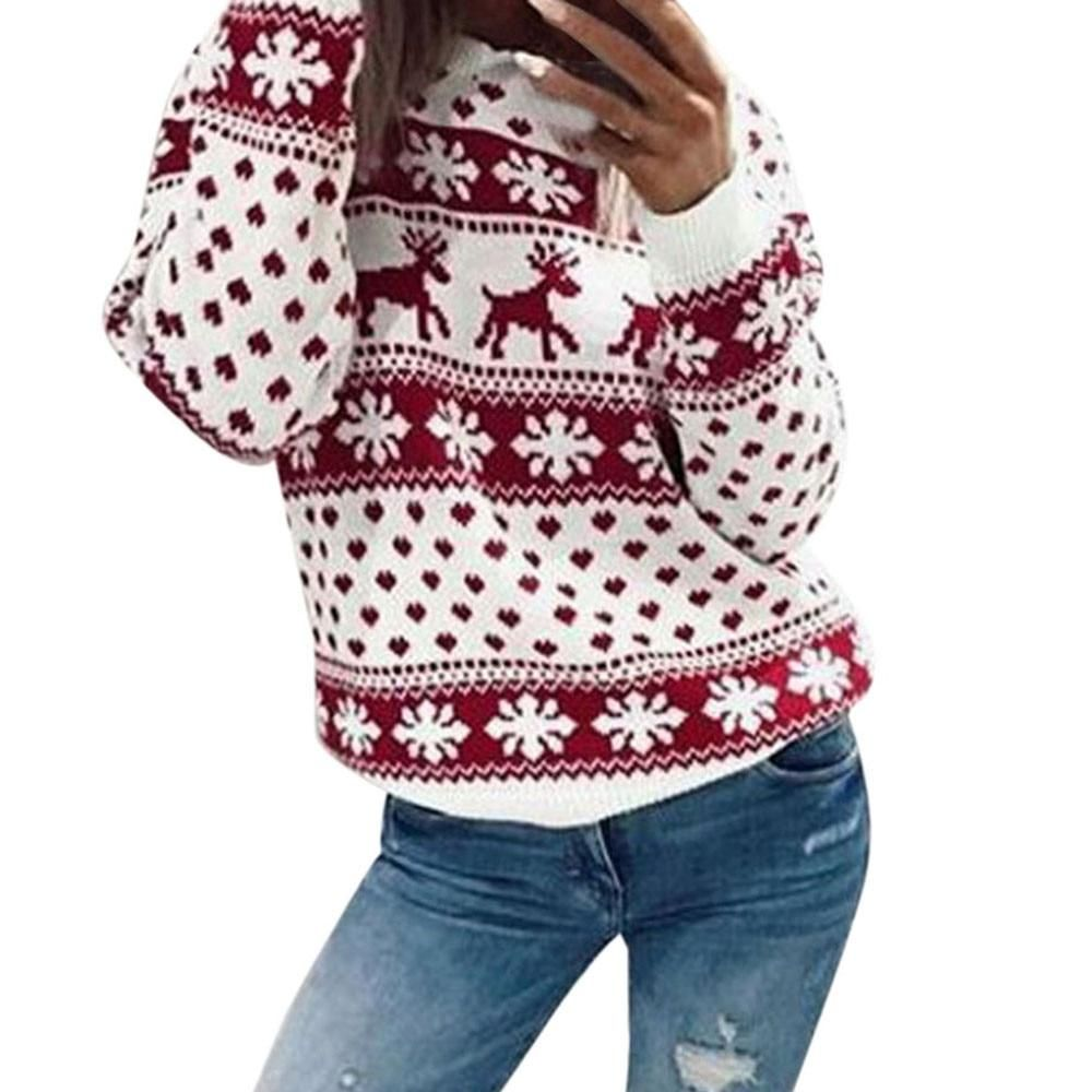 2018 Women Lady Jumper Sweater Pullover Tops Coat Christmas Winter