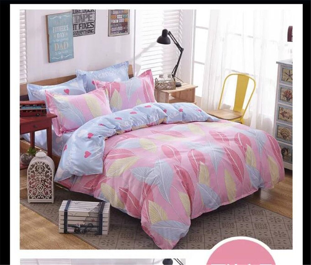 India Feather Bedding Bed Sets Queen King Twin Kids 4/5 Pcs Quilt Romantic  Pink