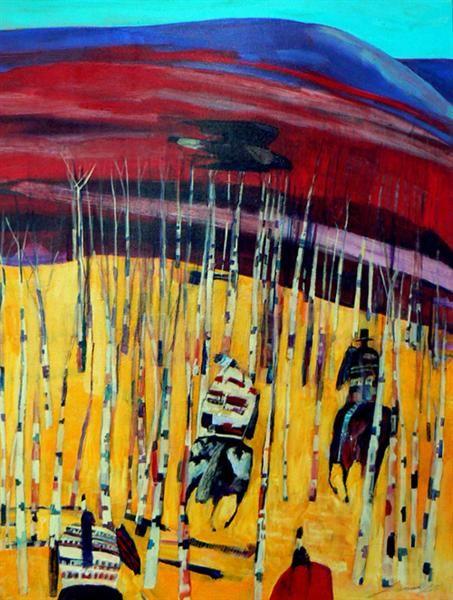 Buffalo Eagle Trail - Contemporary Canadian Native, Inuit & Aboriginal Art  - Artist:Linus Woods