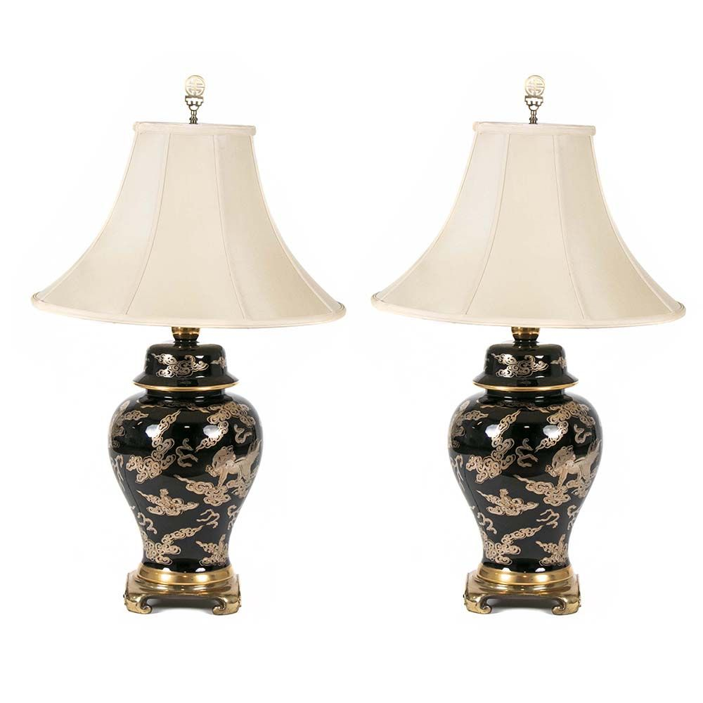 Pair Of Oriental Style Table Lamps Have Glossy Black Bodies With