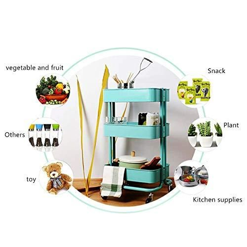 Photo of 3-Tier Kitchen Storage Trolleys Removable Storage Tower Rack Bathroom Shelf With Wheels Slim Rolling Storage Rack Trolley Beauty Salon Cart Storage Detachable Catering Serving Trolley Clearing Trolley
