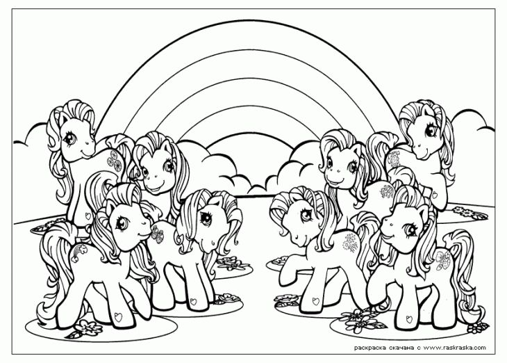 My Little Pony With Beautiful Rainbow Coloring Page For