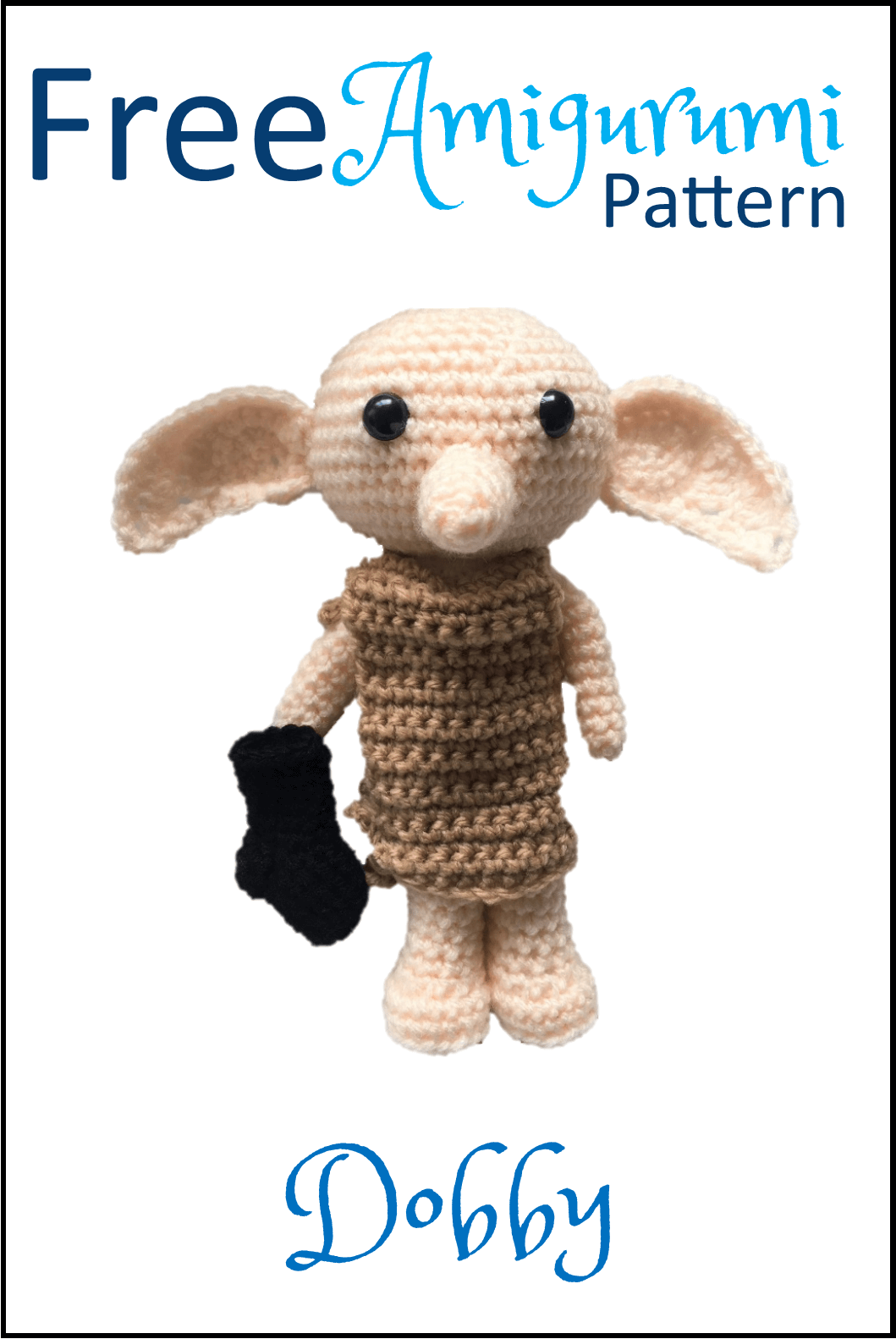 Free Dobby Amigurumi crochet pattern. Dobby is finally free! Lots of other Amigurumi patterns too - including all Dobby's Harry Potter pals #crochethatpatterns