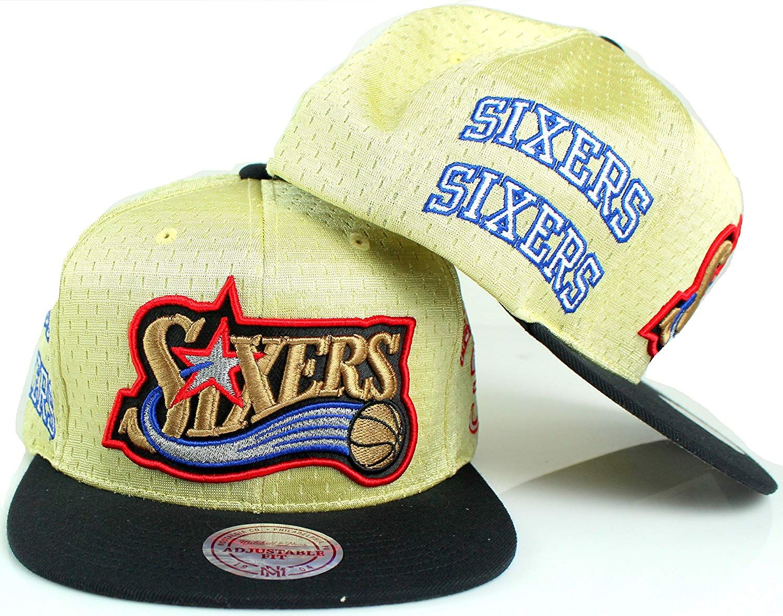Mitchell   Ness Philadelphia 76ers Allen Iverson   3 NBA Omni Branded Snapback  Hat - Gold d1132bbb484d
