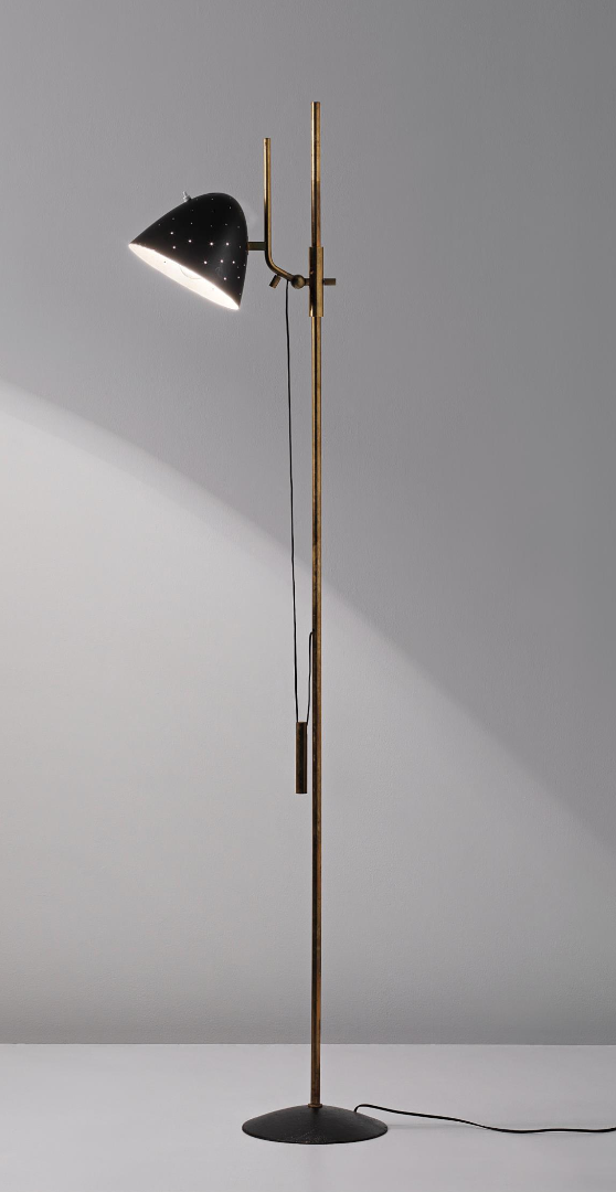 Gino Sarfatti 1054 Enameled Metal And Brass Floor Lamp For Arteluce C1950 Lampes Vintage Lumiere De Lampe Et Ambiance Deco