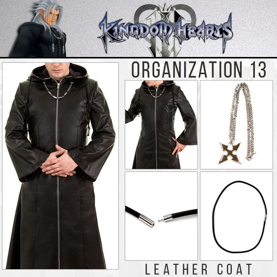 Organization 13 Coat Kingdom Hearts Xiii Coat For Sale Black Leather Coat Coat Leather Coat