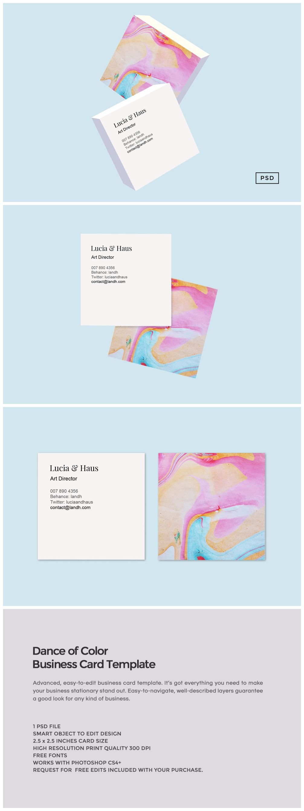 Dance of Color Business Card: This gorgeous business card template is perfect for anyone who wants to make a style statement and stand out.