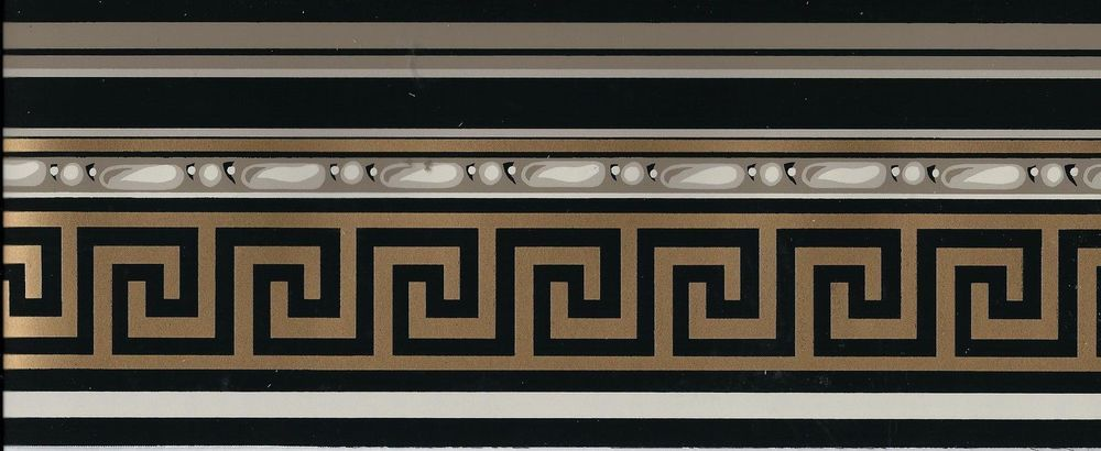 Victorian Architectural Gold Greek Key on Black WALLPAPER