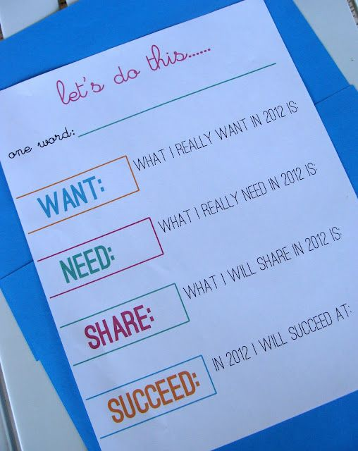 YW New Year goals (Want, Need, Share, Succeed:)