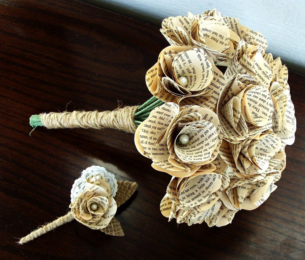 Book Page Bouquet - Book Page Boutonniere -Book Page Flowers ...