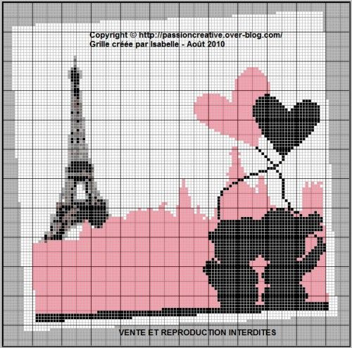 Grille gratuite point de croix les amoureux de paris - Broderie point compte grille gratuite ...