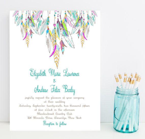 Native American Wedding Invitations: Feather Wedding Invitation