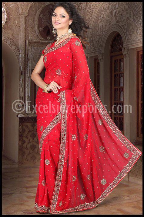 Simple Red   Saree