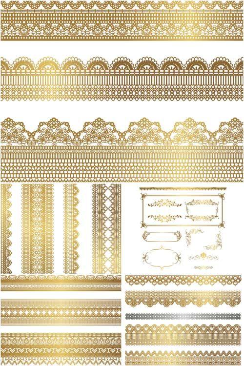 Ornate gilded borders vector