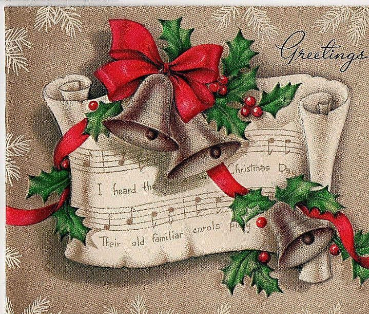 Vintage Christmas Card OLD PAPER SCROLL W MUSIC,CHURCH